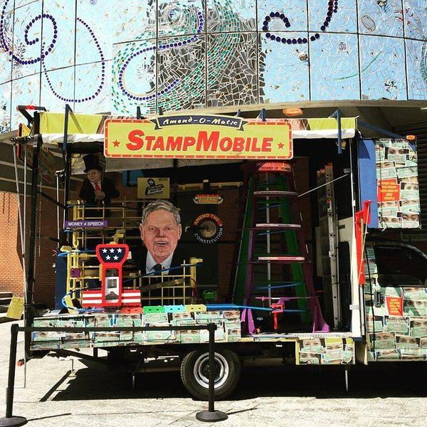 Stamp Mobile to stamp big money out of politics at the American Visionary Art Museum.